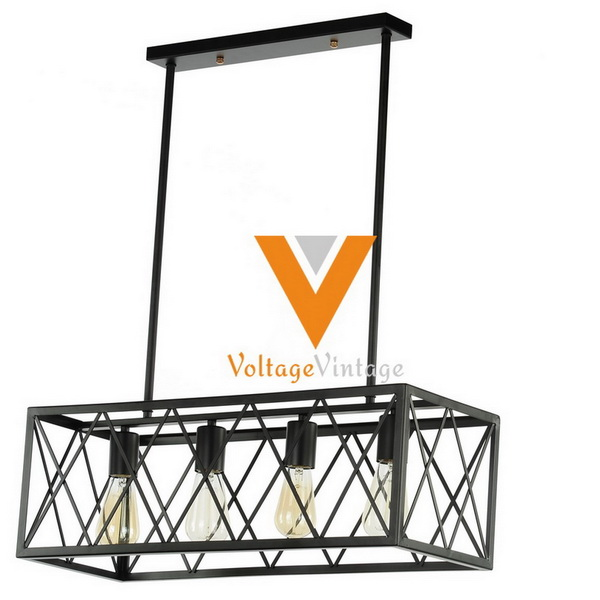 Voltage and vintage Square metal cage pendant lamp