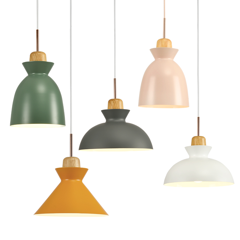 Nordic Creative Wood Color Aluminum Single Chandelier Living Room  Restaurant Bar Coffee Shop Clothing Shop Lamps ...