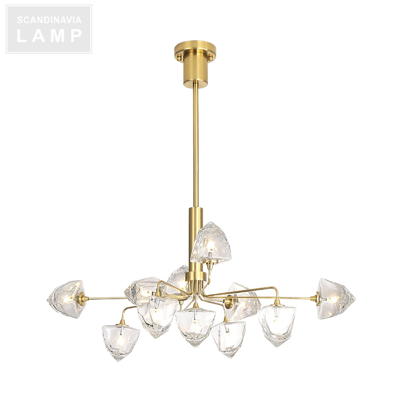 Contemporary dining room brass luxury copper light iceberge glass pendant chandelier lamp
