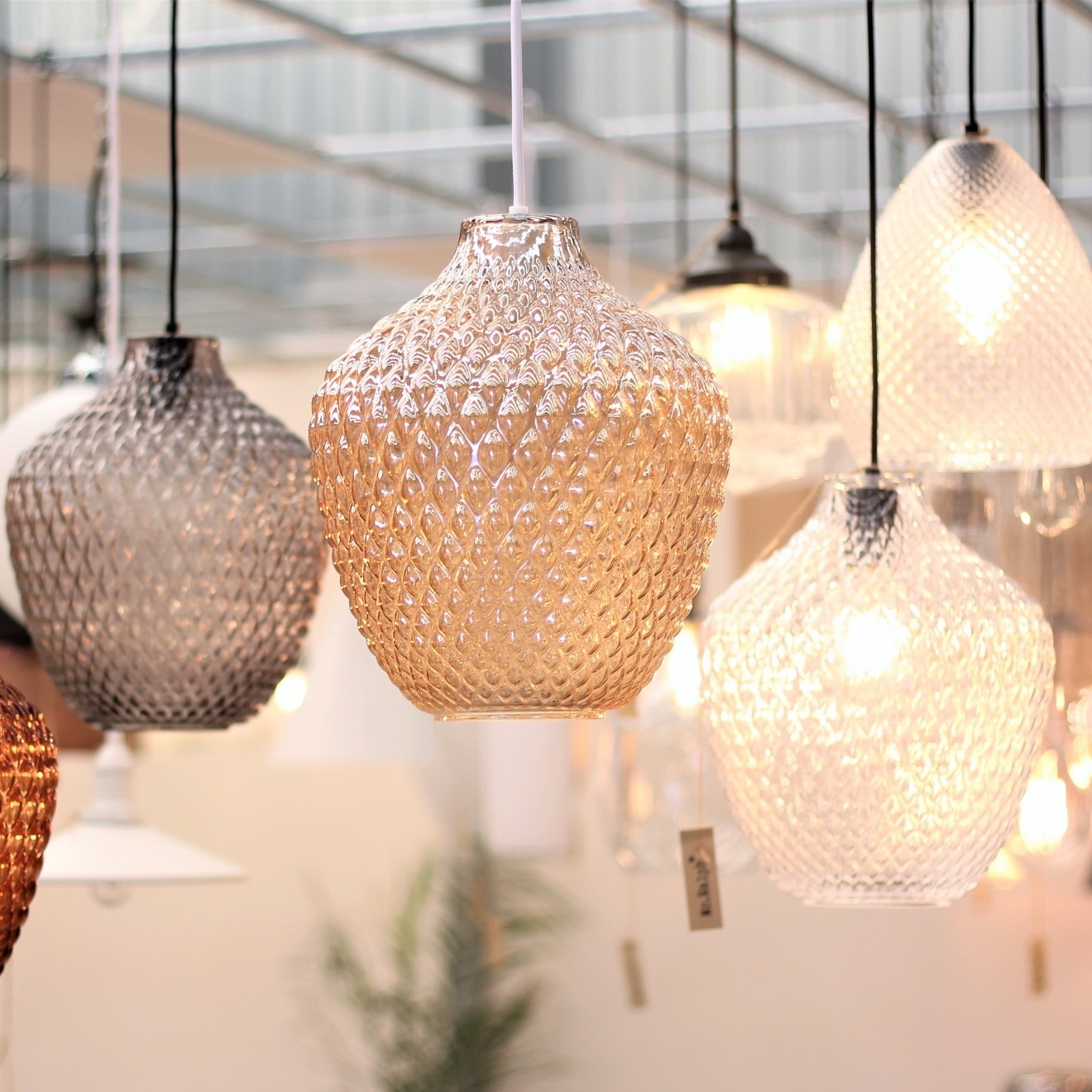 Modern Glass Pendant light Rust Amber Smoke Grey or Clear Glass lamp